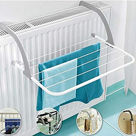 LATIQ MART Plastic and Stainless Steel Adjustable Clothes Drying Rack Shelf, Indoor/Outdoor Easy Install Folding Clothes Towels Hanging On The Door Window Plant Holder, Windowsill Guardrail Balcony