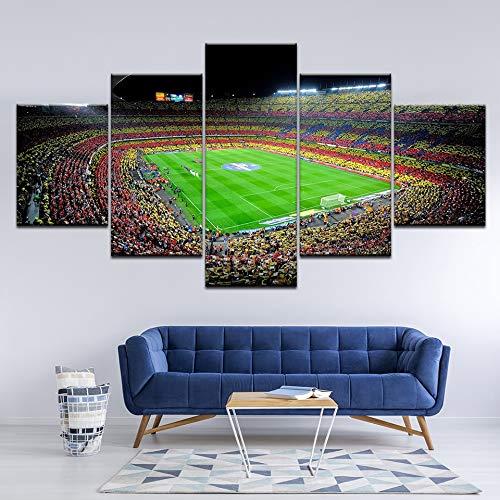 5D Adult Full Diamond Diamond Pinting Kit, España FC Barcelona Fútbol deportivo 5 piezas Pintura de lienzo Arte de pared pintura Pintura Modular Fondos de pantalla Poster impreso Decoración de la casa