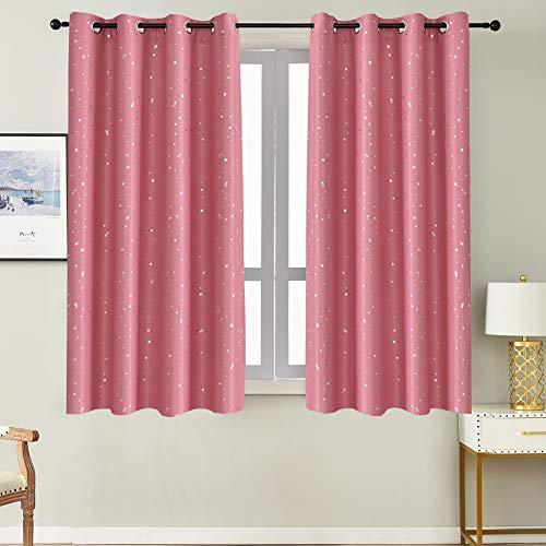 NAPEARL Vorhang Kinderzimmer Mädchen, Rosa Blickdichte Vorhänge mit Silbernen Sternen, Schöne Sterne Gardinen für Schlafzimmer, 2er Set, 2X H 160 X B 132cm