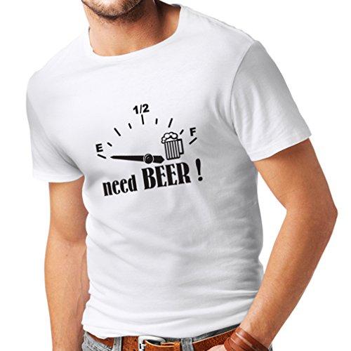 lepni.me Camisetas Hombre ¡Necesito más Cerveza! Divertido Regalo, Bebida - Bar - Lemas Fiesta (Medium Blanco Negro)