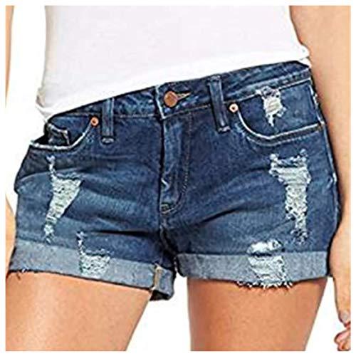 Pantalones Cortos de Mezclilla para Mujer ,Pantalones Vaqueros básicos Bermudas Pantalones Cortos de Mezclilla para Mujer con Agujeros Rasgados Casual Pantalones Cortos Deportes Fitness