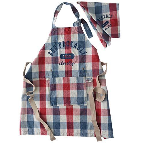 アンドパッカブル エプロン オシャレ収納 三角巾 セット 子供用 約70×68cm チェック ブルー レッド 67255