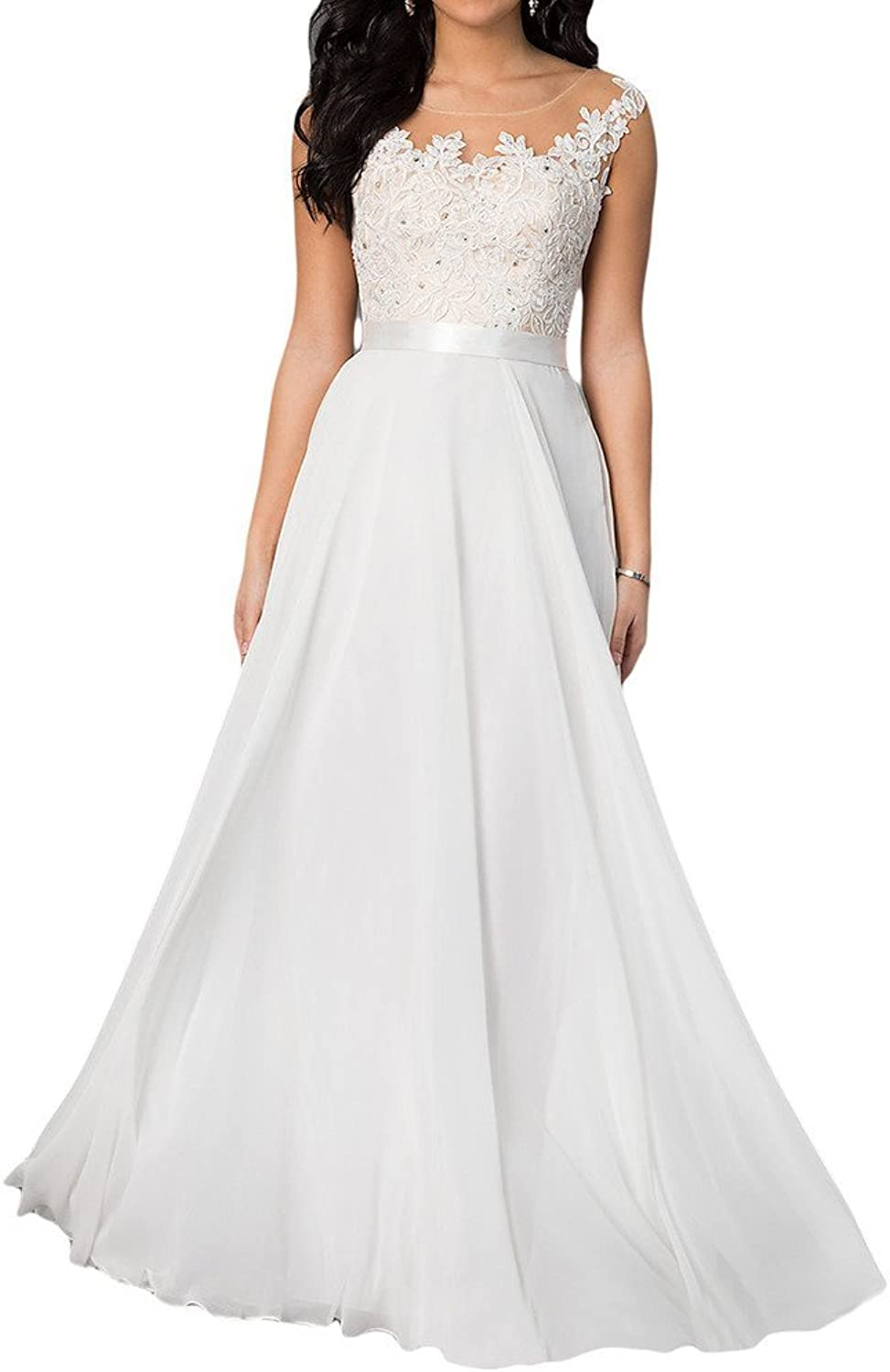 Angel Bride White Appliqued Wedding Dress Floor Length Prom Prom Gown Dress