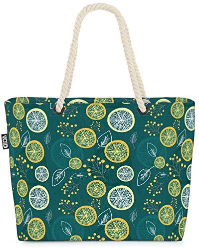 VOID Zitronenblätter Früchte Strandtasche Shopper 58x38x16cm 23L XXL Einkaufstasche Tasche Reisetasche Beach Bag