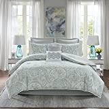 Comfort Spaces Kashmir 8 Piece Comforter Set Hypoallergenic Microfiber Lightweight All Season Paisley Print Bedding, Cal King, Soft Blue