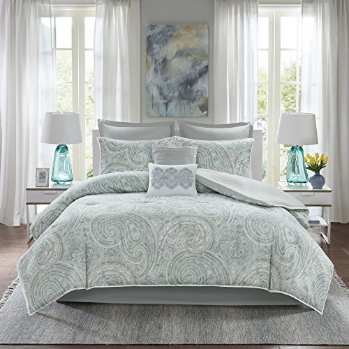"Comfort Spaces Cozy Comforter Set-Modern Classic Design All Season Down Alternative Bedding, Matching Shams, Bedskirt, Decorative Pillows, Cal King(104""x90""), Kashmir, Paisley Blue/Grey"