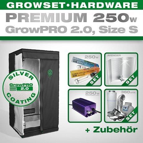 Grow Box GrowPRO 2.0S–Grow Set per Indoor Home Grow–250W Grow Set Premium