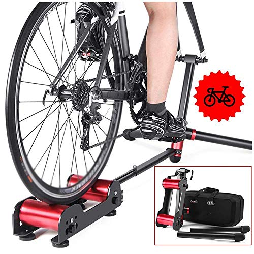 SLRMKK Bicycle Turbo Trainer,Foldable Bike Trainer Bike Rollers Bicycle Training Bracket Trainer MTB Road Cycling Roller Bicycle Exercise Station Resistance Exercise Fitness Machine
