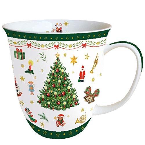 Ambiente Fine Bone China kubek świąteczny 0,4 litra Boże Narodzenie wiecznie zielony biały