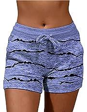 Routinfly Damskie spodnie letnie, boho, spodnie haremki, letnie spodnie do jogi, spodnie damskie, regularny krój, modne damskie sznureczki, luźne kieszenie, sportowe szorty