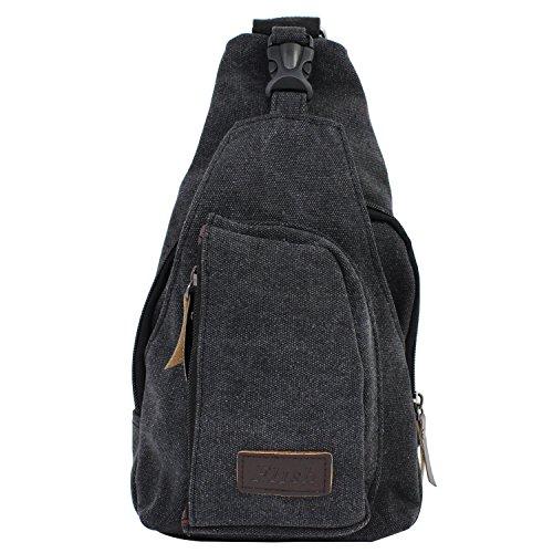 PsmGoods Uomini Canvas Shoulder Bag di Svago di Corsa della Tasca Escursionismo Zaino Petto Pouch Sling (Nero)