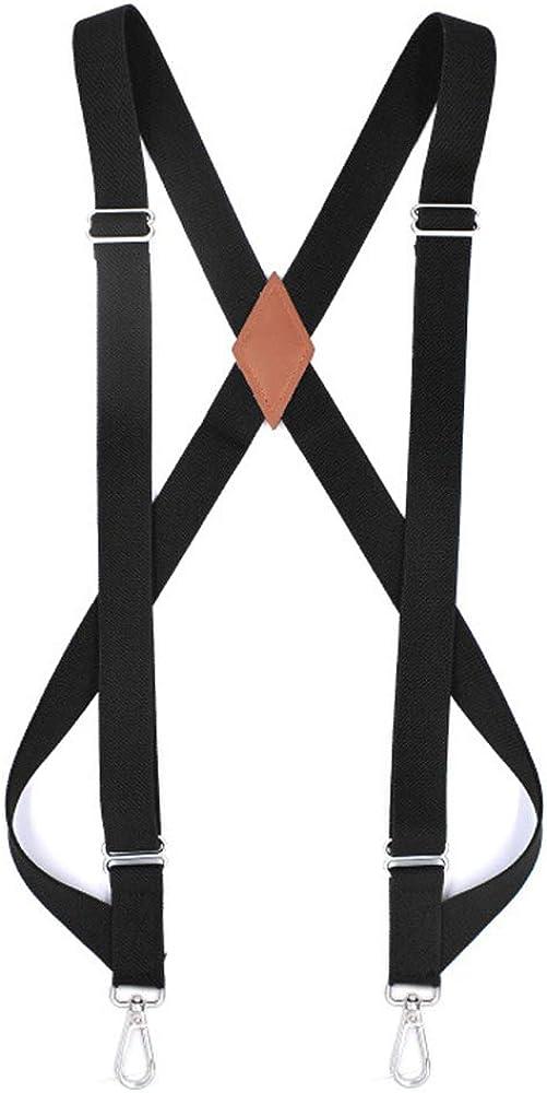 Booluee Mens Suspenders Side Clip Suspenders Adjustable Elastic X Back Style Suspenders with Swivel Hooks