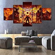 Gtart Canvas Wall Art 5 Pieces Prints On Canvas Pictures Doom Eternal Video Game Modular Poster Hd P...