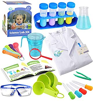 Kids Science Experiment Kit with Lab Coat Scientist Costume Dress Up and Role Play Toys Gift for Boys Girls Kids Age 5 - 11 Christmas Birthday Party