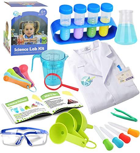 UNGLINGA Laboratorio de Quimica Kit Ciencias Niños con Bata de Laboratorio Juguetes Kit de Experimentos Científicos Disfraces y Juguetes de Rol de Regalo Educativos con para Niños Niñas de 5-11 años