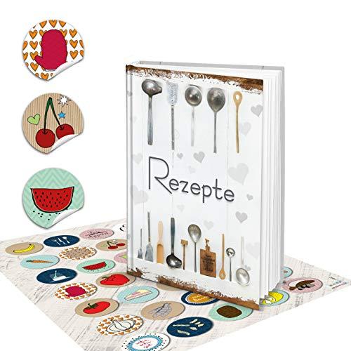 Logboek uitgeverij receptenboek klein om zelf te schrijven, DIN A5 SHABBY CHIC wit zilver natuur vintage + sticker keuken kleurrijk mijn REZEPTE eigen kookboek DIY