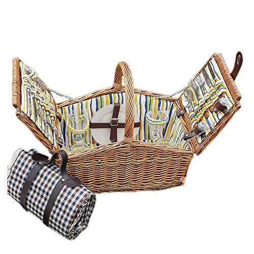 51nj1a5+LoL - fang zhou Delux Rattan Picknickkorb, Doppeldeckel Classic tragbar, 4-Personen-Picknickzubehörset Ablagekörbe Grillzubehör, passend für Park Beach