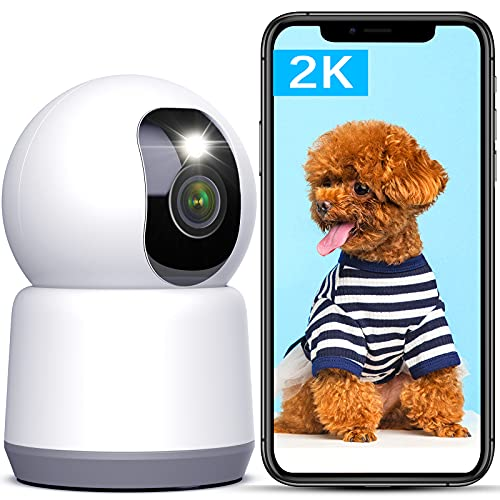 5Ghz/2.4Ghz Dual WiFi Dog Camera, Lametuty 2K Baby MonitorCamerawith Phone App, Full Color in Night with Spotlight, Home Security Camera for Cat/Pet/Elder/Nanny, 2 Way Audio, Motion Human Detection