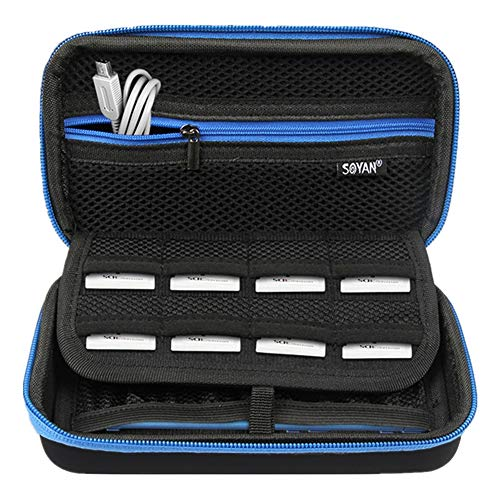 Soyan Carrying Case for Nintendo New 3DS XL and 2DS XL, with 16 Game Card Holders, Fits Wall Charger (Blue Zippers)
