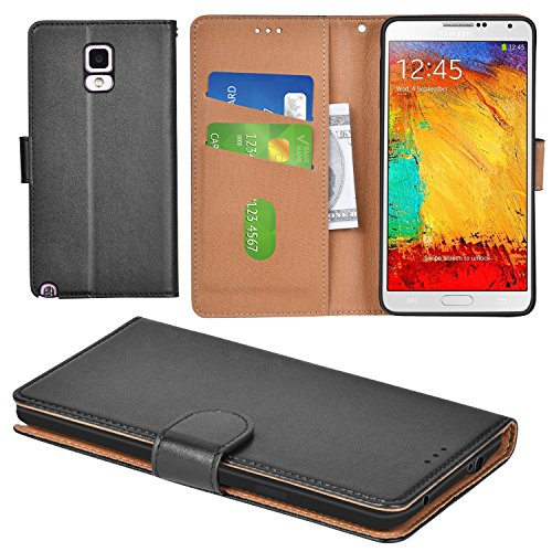 Aicoco Galaxy Note 3 Case Flip Cover Leather Wallet Phone Case for Samsung Galaxy Note 3 - Black