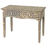 Bone Inlay Console Hall Table with Drawers Natural and White Geometric Modern Style Handmade Table Simple Rectangle Hall Table for Living Room for Home Decor Furniture by A.S Industries.
