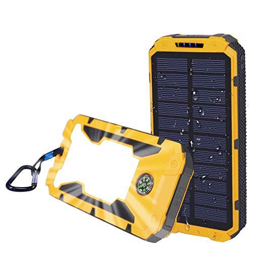 Solar Charger,Sethruki 10000mAh Battery Solar Power Bank Portable Panel Charger