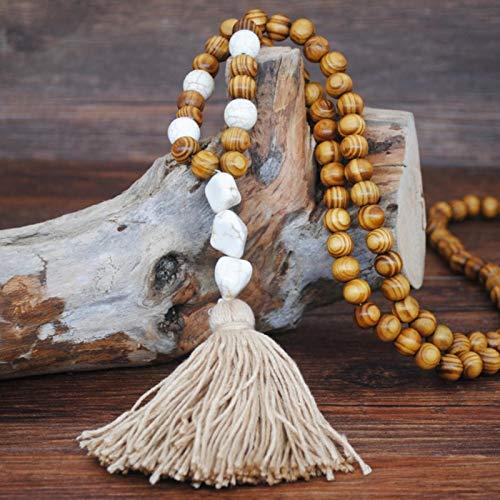 mengnuo Collar Bohemio Piedras Hechas a Mano Borlas Collar de Cuentas de Madera Joyería Larga para Mujer Regalos