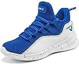 Elaphurus Kinder Hallenschuhe Basketballschuhe Sportschuhe Mädchen Turnschuhe Tennischuhe Kinder Sneaker Laufschuhe,6 Blau,36 EU