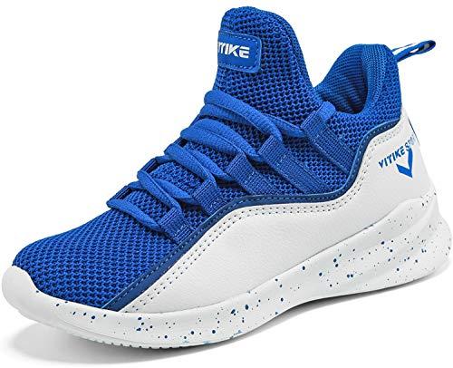Elaphurus Kinder Hallenschuhe Basketballschuhe Sportschuhe Mädchen Turnschuhe Tennischuhe Kinder Sneaker Laufschuhe,6 Blau,35 EU