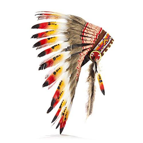 Coiffe indienne Pink Pineapple en plumes d'origine responsable Warbonnet style Indiens d'Amérique fait main Accessoire pour déguisement d'inspiration amérindienne artisanale, éthique Noir Rouge Orange