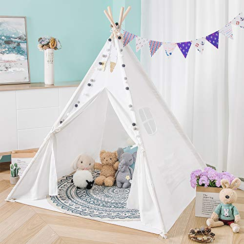 Sanobear Kids Teepee Tent for Girls Play Tent with Floor Mat +Colorful Flag +Carry Bag, Foldable Toddler Playhouse Toy for Girls and Boys Children Indoor and Outdoor Games (White)