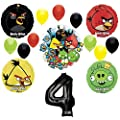 Angry Birds 4th Birthday Party Supplies and Group See-Thru Balloon Decorations