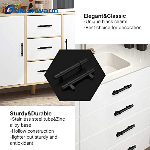 "goldenwarm 25 Pack 3 inch Black Cabinet Handles Black Cabinet Pulls - Euro Style Black Pulls for Kitchen and Bathroom Cabinets Black Kitchen Cabinet Dresser Drawer Handles,5""Length,3""Hole Center."