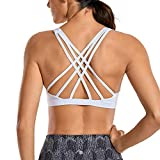 CRZ YOGA Women's Strappy Sports Bra Full Coverage Padded Supportive Cute Workout Yoga Bra Tops Sexy...
