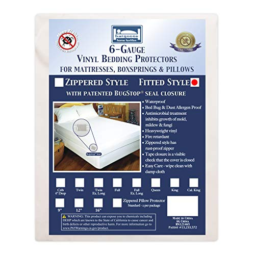 """Bargoose   Fitted Mattress Cover   Vinyl Bed Protector   Guards Against Pests & Liquids   Allergen & Dust Mite Barrier   Hypoallergenic   White (Queen, 16"""" Deep)"""