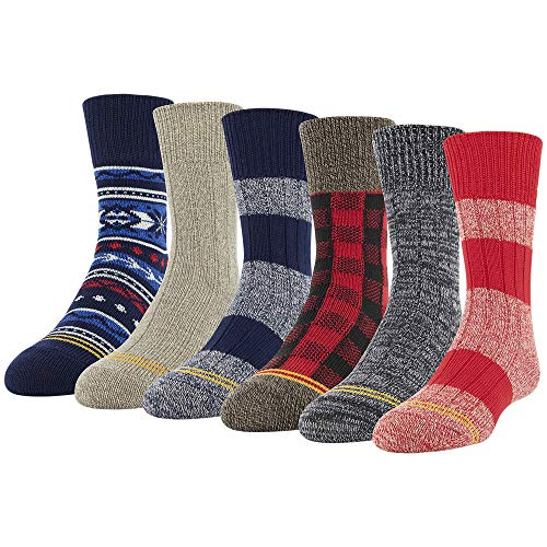 Gold Toe boys Total Package Crew Socks, 6 Pairs Casual Sock, Multicolor, Shoe Size 3-9 US