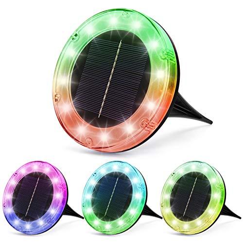 Litake Solar Bodenleuchten Aussen,12LED Solarleuchte 7 Farbwechsel IP65 Wasserdicht Gartenleuchten für Außen Solarlampen Garten Gehweg Deck Weg Rasen Auffahrt,4 Stück