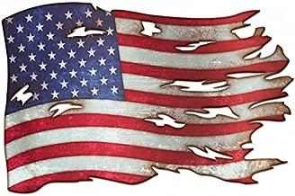 Tattered American Flag Plasma Cut Metal Sign