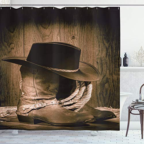"Ambesonne Western Shower Curtain, Wild West Themed Cowboy Hat and Old Ranching Rope on Wooden Display Rodeo Cowboy Style, Cloth Fabric Bathroom Decor Set with Hooks, 75"" Long, Brown"