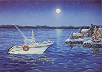 Boating、ボックス版クリスマスカード、少し大きなサイズ、by LPG Greetings