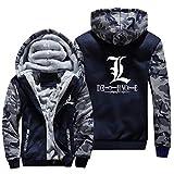 NIEWEI-YI Men's Casual Hooded Sweatshirts,Death Note Chaqueta con Capucha y Cremallera para Hombre, Forro Polar,4XL