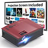 VOKUA 1080P Mini Projector with 100 Inch Projector Screen,Portable Video LCD Projector Full HD,Compatible with TV Stick,HDMI,USB,AV,SD,for Home Cinema&Outdoor Movie&Video Games.