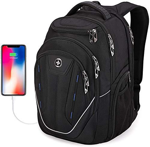 Mochila masculina Swissdigital Terabyte TSA resistente à água e grande, mochila para laptop de negócios, com porta de carregamento USB/proteção RFID, grande escolar, serve para mochila de laptop de viagem de até 15,6 polegadas