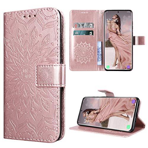 Yokata Cover per Samsung Galaxy S20 Custodia di Pelle Case Flip Portafoglio Retro Libretto Magnetico Protettiva Non Graffi Funzione Supporto Bumper Fiore Girasole - Oro Rosa