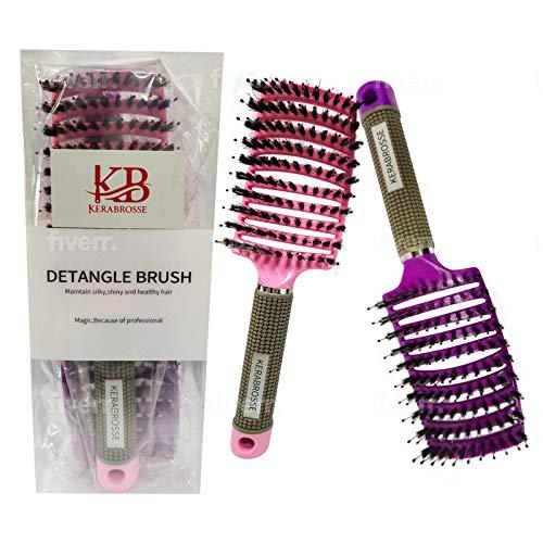 brosse cheveux ,poil de sanglier 100% naturel, Meilleure pour démêlage de cheveux épais et démêlant pour séchage plus rapide ,2...