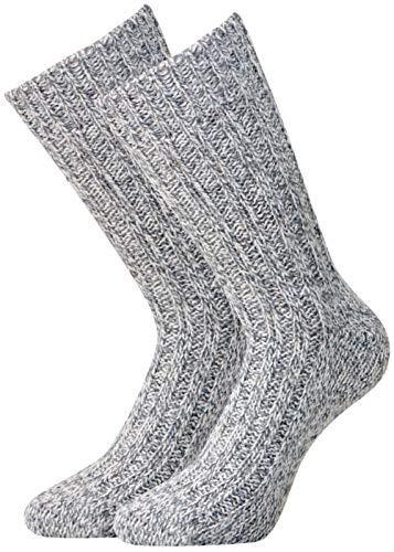 kb-Socken 2 Paar superweiche Damen & Herren Schafwoll-Norwegersocken Schafwolle bis Gr. 50 (39-42, grau/schwarz)