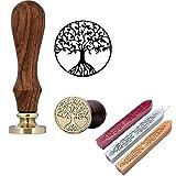 Mogoko 1 Sigillo di legno + 3 Ceralacca SET Francobolli Vintage Kit per Lettera Personalizzata Timbri decorativo IL MIGLIORE REGALO SET - Albero della Vita