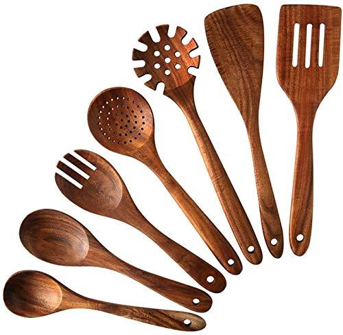 XUFAN Cocina utensilios de cocina de madera, 7 PCS teca cucharas y espátulas de madera, que se utiliza for cocinar, suavizado, venta y utensilios de cocina de su casa que no se pegue y la decoración d