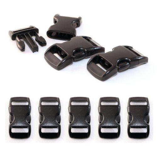 """Ganzoo klick-Verschluss aus Kunststoff im 5er Set, 3/8\"""" / Klippverschluss/Steckschließer/Steckverschluss für Paracord-Armbänder, Hunde-Halsbänder, Rucksack, Farbe: schwarz"""