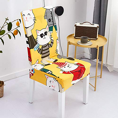 QWFDAQ Printed Dining Chair Cover Yellow white brown red cartoon animal cat Removable Washable Soft Spandex Stretch Chair Cover 4 pcs Protector Cover for Dining Room,Living Room,Kitchen,Hotel